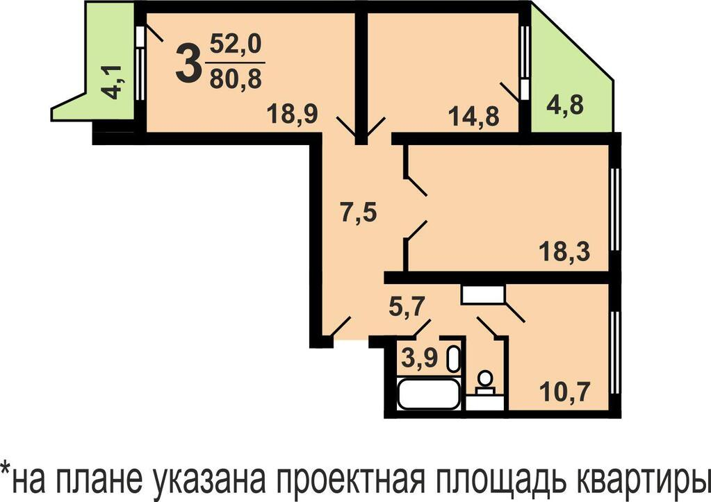 Железнодорожный, 3-х комнатная квартира, ул. лесопарковая д..