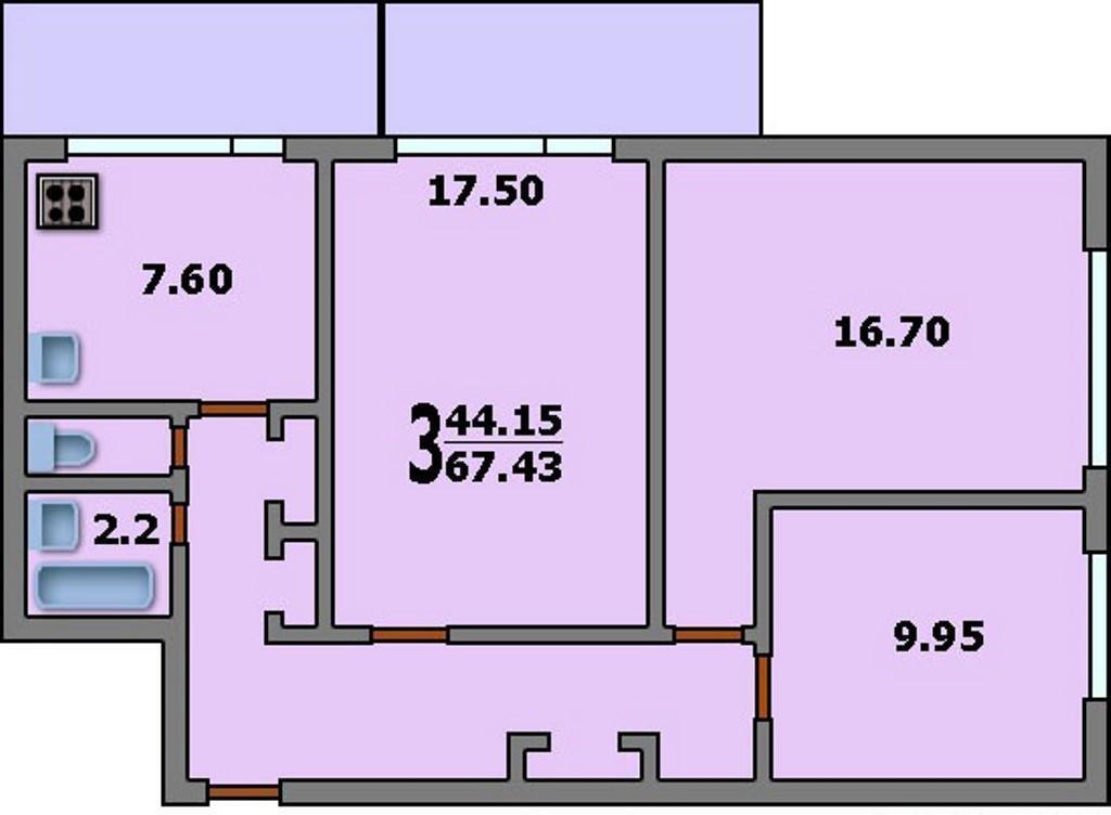 3-комнатная квартира москворецкая: планировка 67.4/44.2/7.6 .
