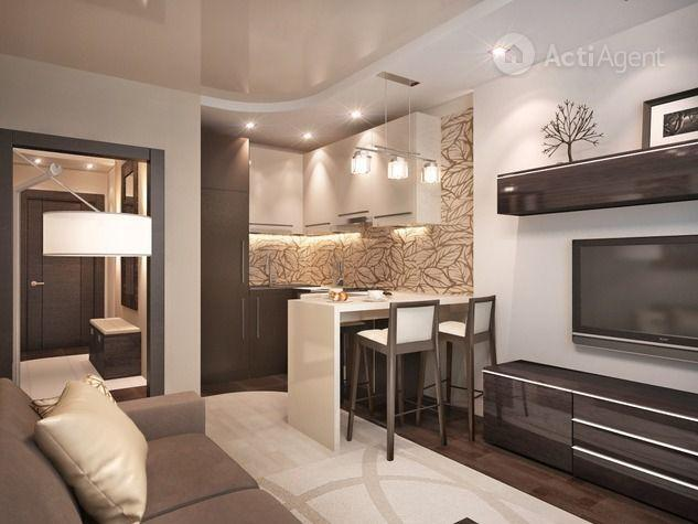 Кухня-гостиная дизайн 25 кв.м