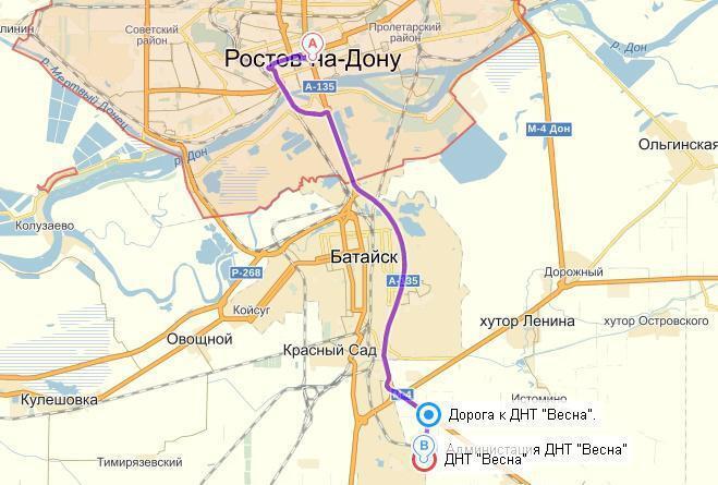 Схема проезда от батайска до ростова-на-дону