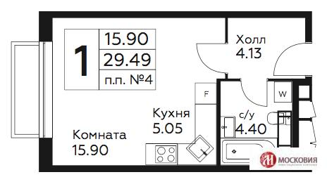 Студия с ремонтом 29.49 кв .м. М.Бунинская Аллея - Фото 3