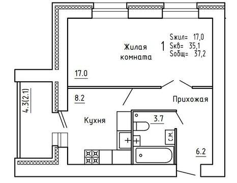 Продажа 1-комнатной квартиры, 36.8 м2, Пугачёва, д. 29а, к. корпус А - Фото 4
