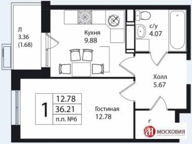 1 к.кв. 36.2м2, Новая Москва, Калужское шоссе - Фото 1