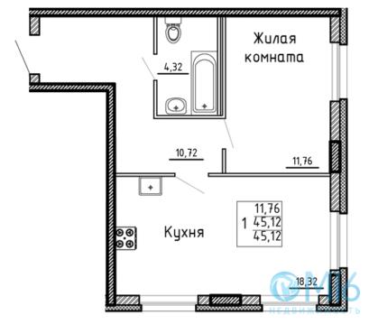 Продажа 1-комнатной квартиры, 45.12 м2 - Фото 2
