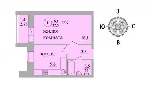 Продажа 1-комнатной квартиры, 33.9 м2, Березниковский переулок, д. 34 - Фото 1