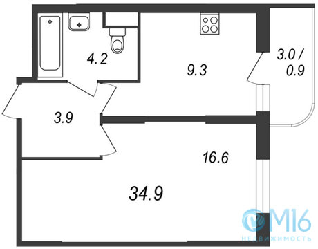 Продажа 1-комнатной квартиры во Всеволожском районе, 34.9 м2 - Фото 1