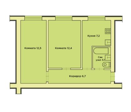 Двухкомнатная квартира с погребом в п. Козлово - Фото 1