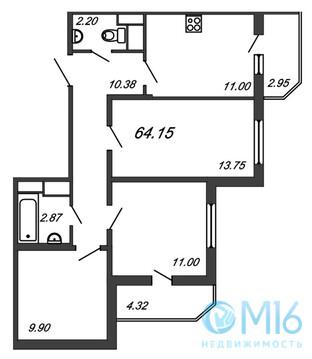 Продажа 3-комнатной квартиры, 64.15 м2 - Фото 2