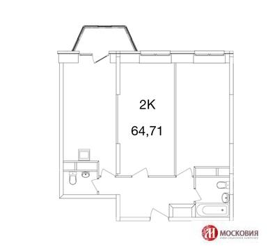 2-комн. квартира 64,71 м2 с панорамными окнами, Киевское ш, Аперлевка - Фото 2