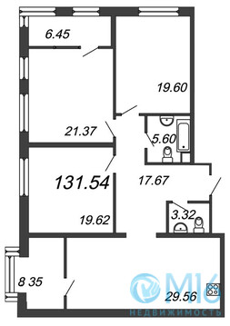 Продажа 3-комнатной квартиры, 131.54 м2, Аптекарский пр-кт, д. 5 - Фото 2