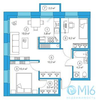 Продажа 2-комнатной квартиры, 56.24 м2 - Фото 2