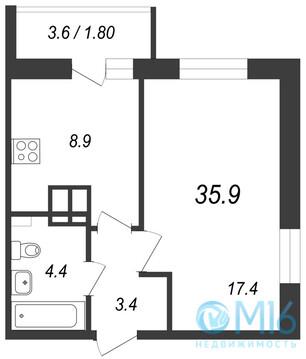Продажа 1-комнатной квартиры, 35.9 м2 - Фото 1