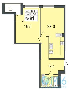 Продажа 1-комнатной квартиры в Приморском районе, 59.2 м2 - Фото 1