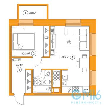 Продажа 1-комнатной квартиры, 42.23 м2 - Фото 2
