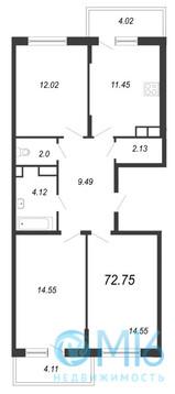 Продажа 3-комнатной квартиры, 72.75 м2 - Фото 2