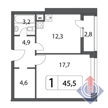 Объявление №43303087: Квартира 1 комн. , ул. Маломосковская,