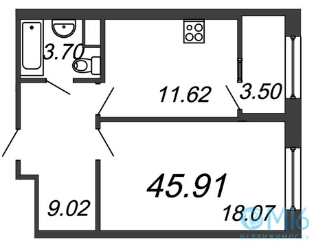 Продажа 1-комнатной квартиры, 45.91 м2 - Фото 2
