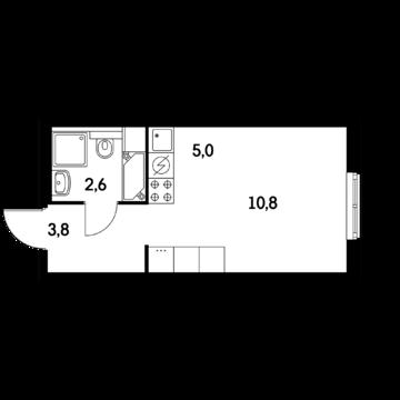 1-ком. квартира-студия 23 кв.м, 3 мин.м. Молодежная - Фото 2