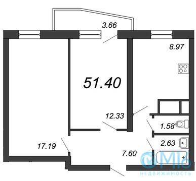 Продажа 2-комнатной квартиры, 51.4 м2 - Фото 2
