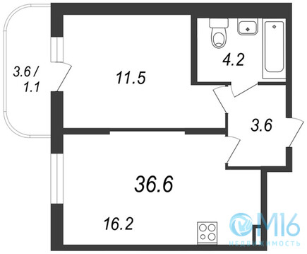 Продажа 1-комнатной квартиры во Всеволожском районе, 36.6 м2 - Фото 1