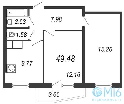Продажа 2-комнатной квартиры, 49.48 м2 - Фото 2