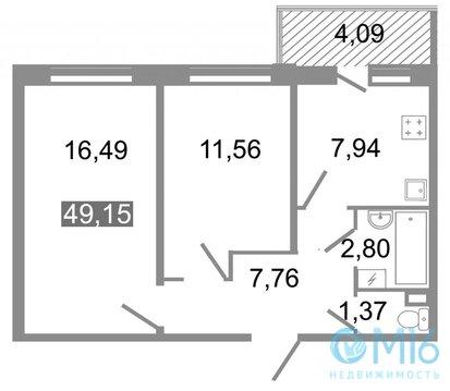 Продажа 2-комнатной квартиры, 49.15 м2 - Фото 2