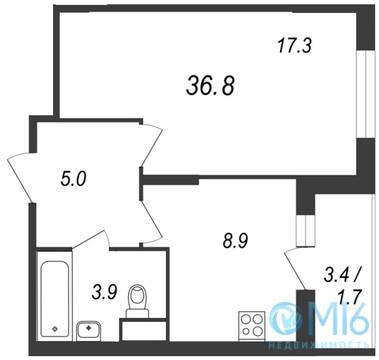 Продажа 1-комнатной квартиры, 36.8 м2 - Фото 2
