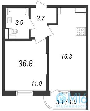 Продажа 1-комнатной квартиры, 36.8 м2, Муринская дор. - Фото 2