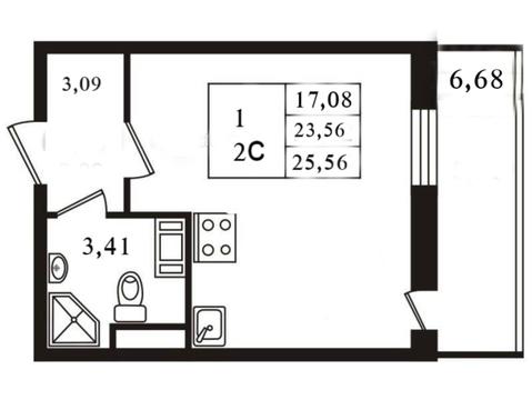 Студия 25,56, 20 этаж. Кудрово ЖК лондон дом сдан - Фото 3
