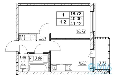 Продажа 1-комнатной квартиры, 41.12 м2 - Фото 1