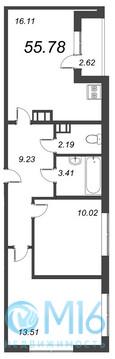 Продажа 2-комнатной квартиры, 55.78 м2 - Фото 2