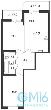Продажа 2-комнатной квартиры, 57 м2 - Фото 2