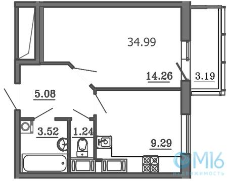 Продажа 1-комнатной квартиры, 34.99 м2 - Фото 1