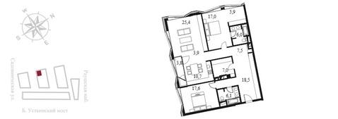Квартал Клубных Особняков Balchug Residence. Элитные апартаменты 141,2 . - Фото 3