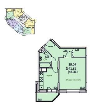 1 комнатная квартира в новом монолитно-кирпичном доме. Скоро сдача. - Фото 1