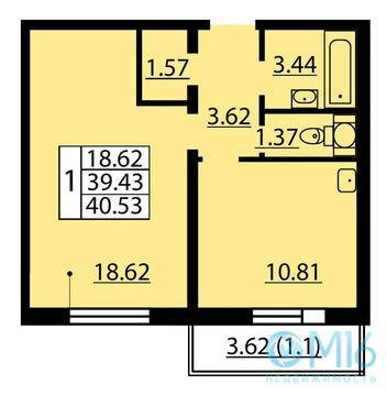 Продажа 1-комнатной квартиры, 40.53 м2 - Фото 2