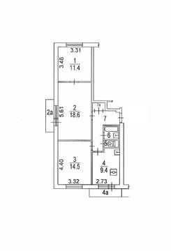 3-х комнатная квартира, ул. Маёвок 1к1 (м. Рязанский проспект) - Фото 2