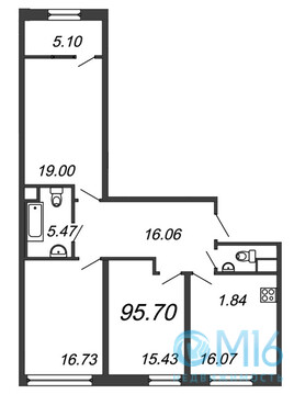 Продажа 3-комнатной квартиры, 95.7 м2 - Фото 2