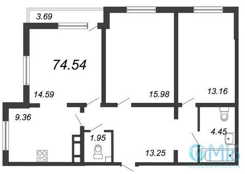 Продажа 3-комнатной квартиры 74.54 м2 в Калининском районе - Фото 1