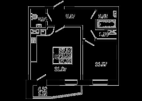 Еврооднушка 51,05 кв. м. в ЖК Никольский посад