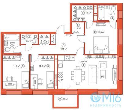 Продажа 3-комнатной квартиры, 91.56 м2 - Фото 1