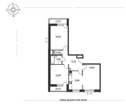 3-комн. квартира 76,49 кв.м. в доме комфорт-класса ЮВАО г. Москвы - Фото 5