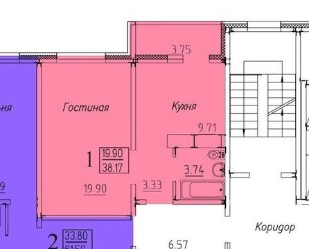 """Квартира в новом доме """"Времена года"""" с ремонтом 38 м2 - Фото 3"""