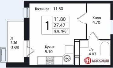 Студия 27.5м2, в новом доме, с развитой инфраструктурой. 15 км от МКАД - Фото 1