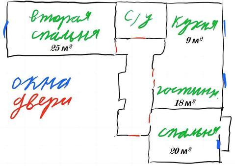 3-комн. кв, Панфилова, 2к4 3/7 этаж - Фото 1