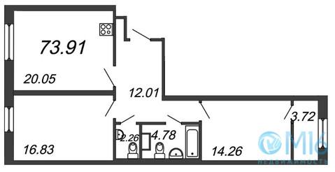 Продажа 2-комнатной квартиры, 73.91 м2, Аптекарский пр-кт, д. 5 - Фото 2