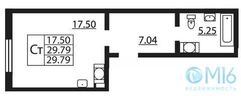 Продажа 1-комнатной квартиры, 29.79 м2 - Фото 2