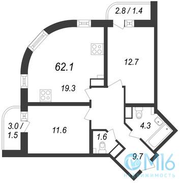 Продажа 2-комнатной квартиры, 62.1 м2 - Фото 1