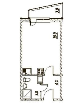 Квартира-студия, 28 м2, с отделкой. Янино, ЖК Брусничный - Фото 4