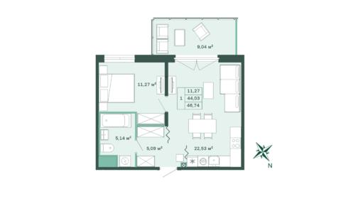 1-комнатная квартира 46,4 м2 - Фото 1